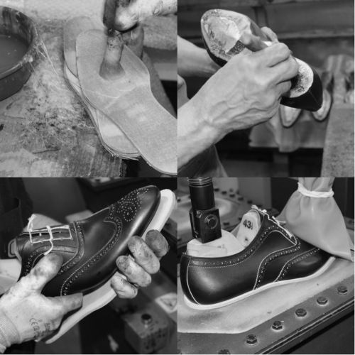 All Franceschetti footwears are sewn with the traditional Blake Rapid method. Once the shoe is on the last, the first sole (middlesole-leather) is applied which is stitched with blake sewing machine to the insole-leather and to the calf leather upper. A first adhesive is smeared on middlesole-leather and lasted shoe. The shoe is pressed by the sole cementing machine. #franceschetti handmade shoes Made in Italy