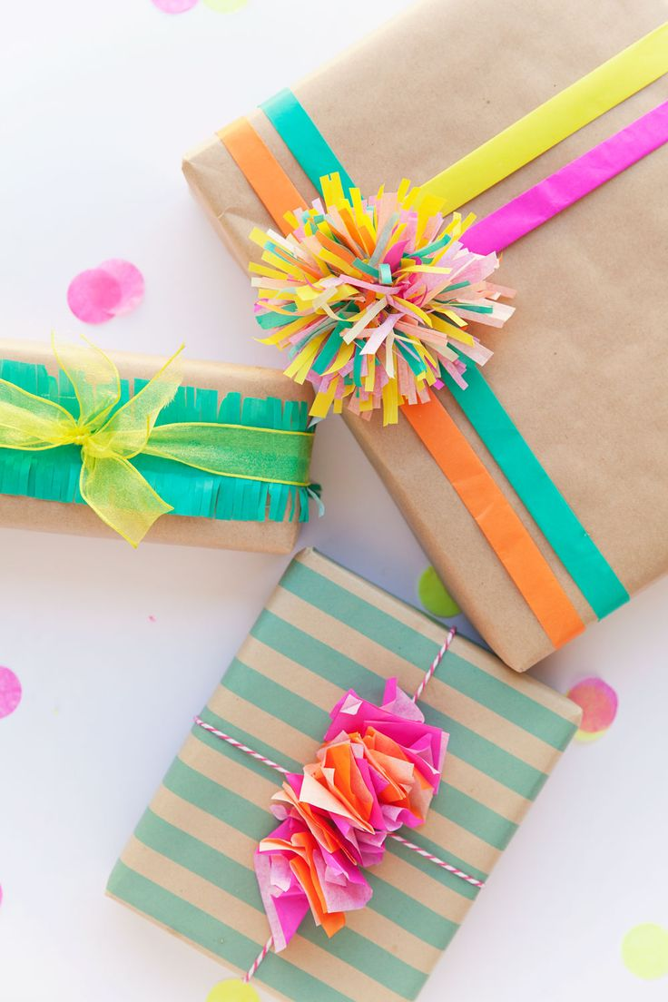 tissue paper used for creative gift wrapping.