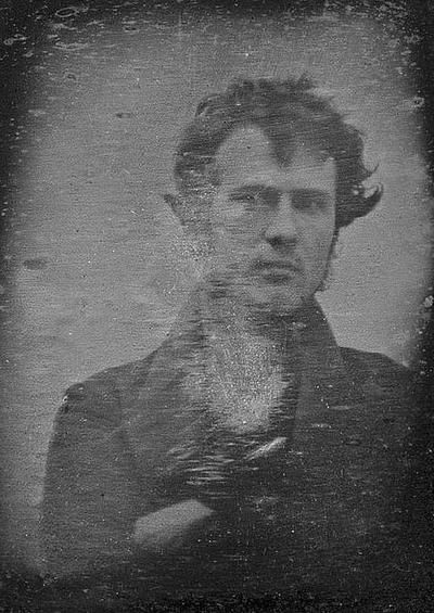 The earliest known photograph taken in North America — in October or November 1839. It is a self portrait by Robert Cornelius (1809-1903)