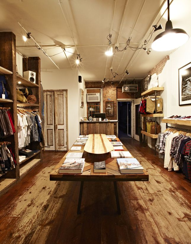 """""""The design for the shop comes from an attempt to mix the softness of raw salvaged wood with the sharpness of modern design,"""" says Rosen. """"It's similar to the way Saturdays designs clothing—we take the softness of the beach and the feeling of the early days of surf culture and infuse it with the modern design elements of New York City fashion.""""    Read more: http://www.dwell.com/slideshows/inside-saturdays-nyc.html?slide=3=y=true##ixzz25poLxIHs"""