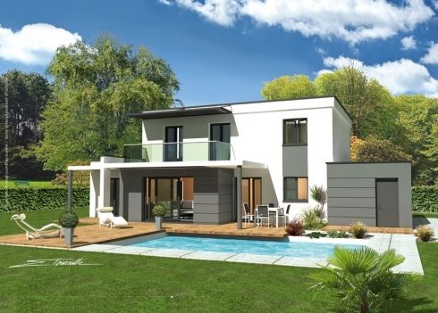 Vues exterieures villa contemporaine villa design - Maison moderne citadine davison design ...