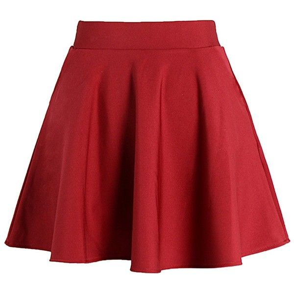 Neeson Womens Basic Versatile Stretchy Flared Short Skater Skirt ($8.99) ❤ liked on Polyvore featuring skirts, stretchy skirts, flare short skirt, red stretch skirt, skater skirt and flared skirts