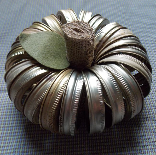 Pumpkin made from canning jar lids! via Totally Green Crafts