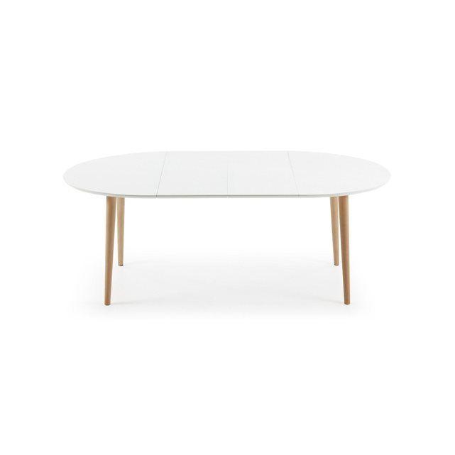 Table Oqui extensible ovale 120-200 cm, naturel et blanc   Home ...