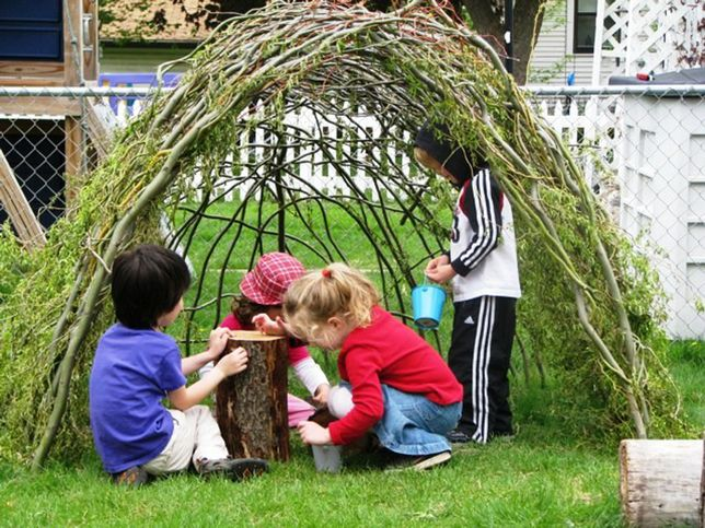 I love the idea of adding some kind of natural fort...a grape arbor, a bean tent, etc.