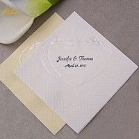 White and ivory calla lily embossed cocktail napkins printed with Black imprint