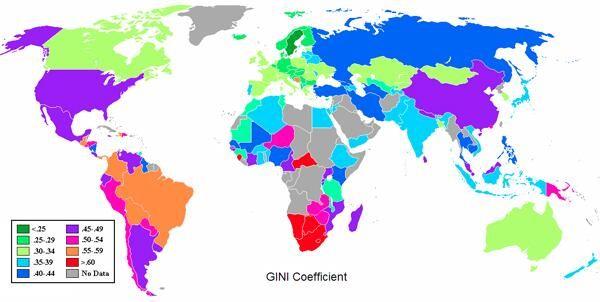 El coeficiente de Gini. Midiendo la desigualdad de ingresos en cada país.