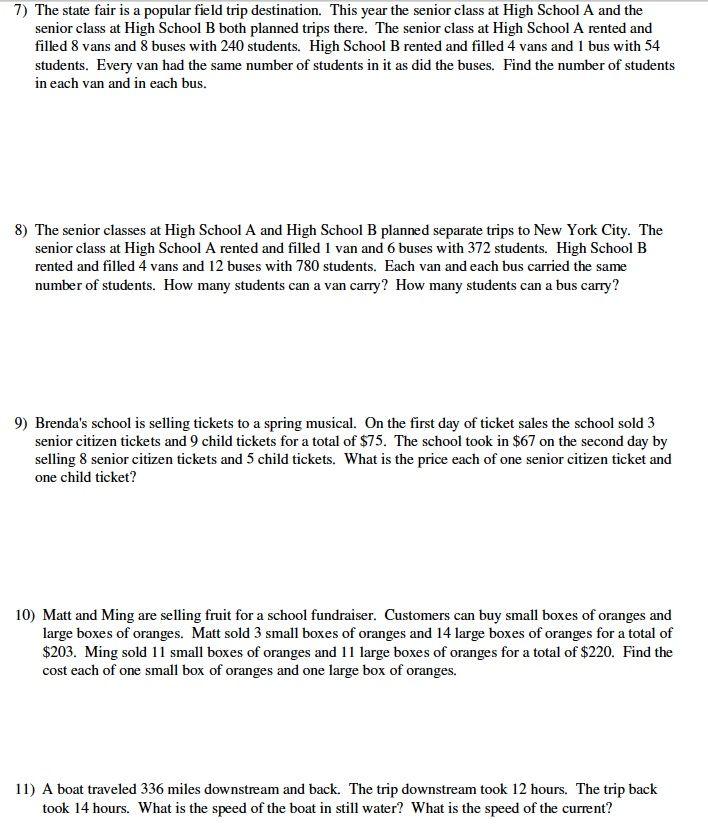 System Of Equation Word Problems Worksheet Free Worksheets