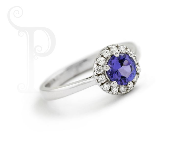 Custom Made 18ct White Gold Tanzanite & Diamond Halo Ring