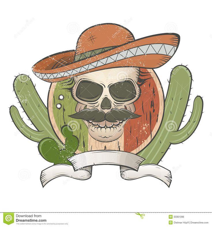 винтажный-мексиканский-череп-с-sombrero-и-усиком-33361096.jpg (1300×1390)