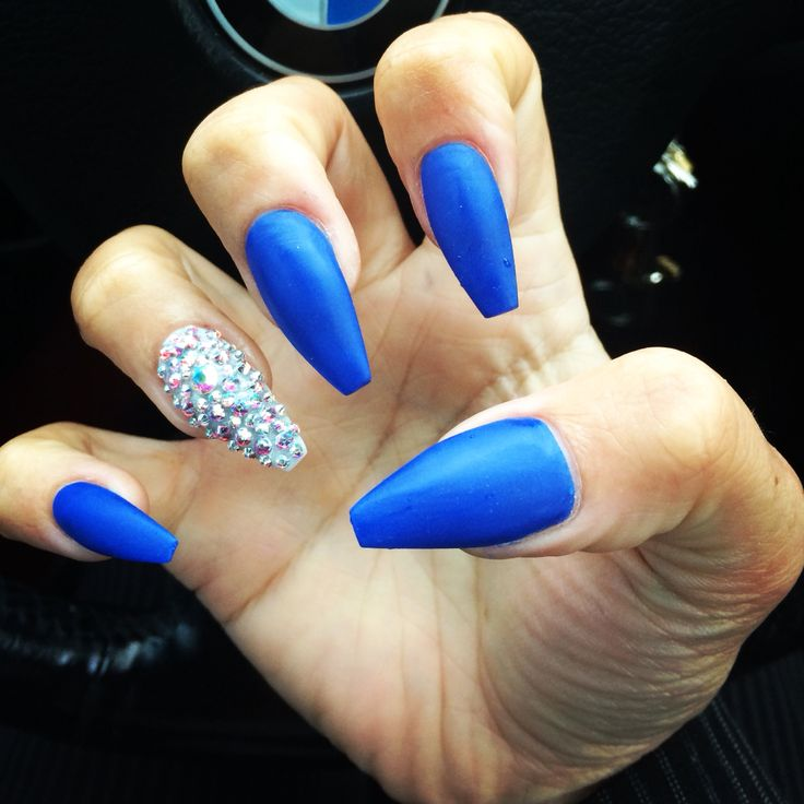 Matte Blue Swarovski Crystal Coffin Shape Nails Nails Pinterest Swarovski Crystals Shape
