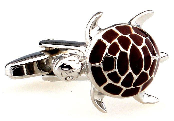 You'll love wearing these gorgeous little turtle cufflinks. Created from polished rhodium with brown enamel, these cute little guys will look awesome resting on your wrist. These novelty cufflinks are sure to impress everyone you have contact with; your workmates, your friends, even your mum. Don't delay, grab your pair today.