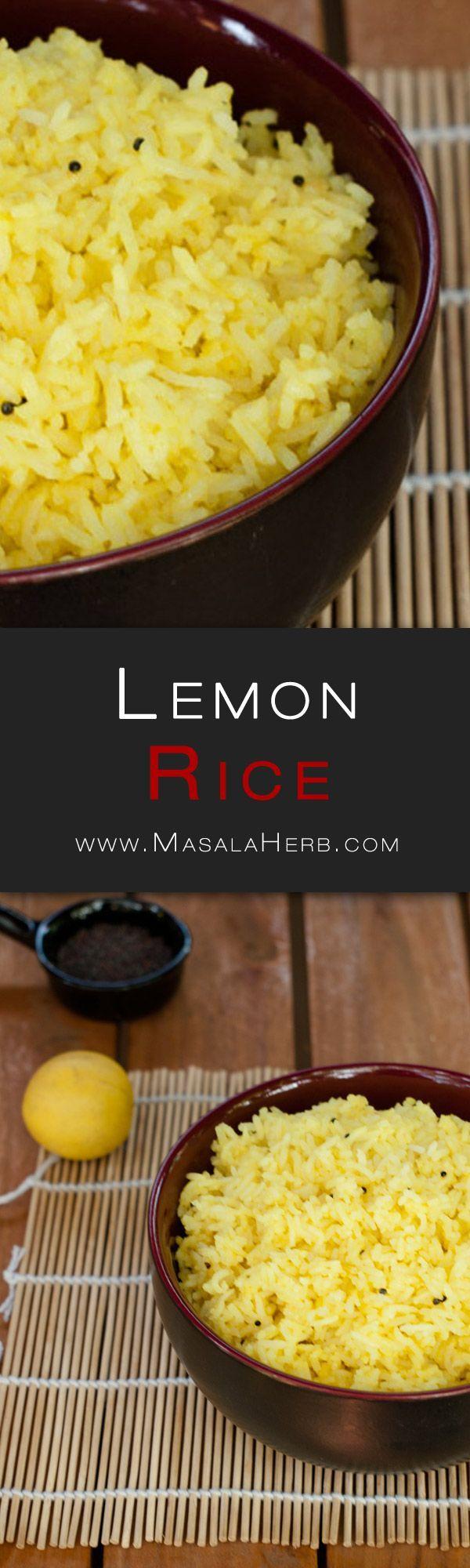 Lemon Rice Recipe - How to make Lemon Rice www.MasalaHerb.com #Recipe #Indianfood #spiced