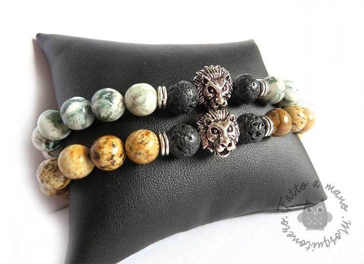 Bracciale perla pietra e lava TESTA DI LEONE uomo braccialetto elastico , by Mosquitonero Shop, 10,90 € su misshobby.com