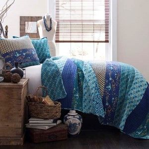 Boho Stripe Turquoise And Tangerine Three Piece Full/Queen Quilt Set Lush Decor Quilt Set