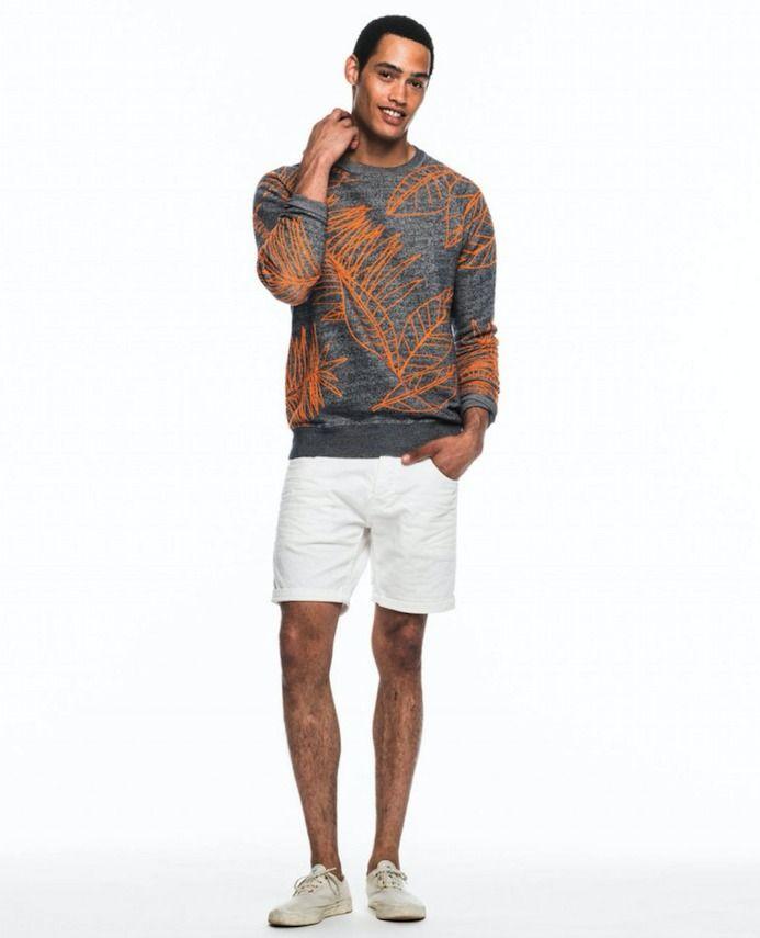 グレーサマーセータースコッチ&ソーダサマーニット,メンズ夏ファッションコーデ