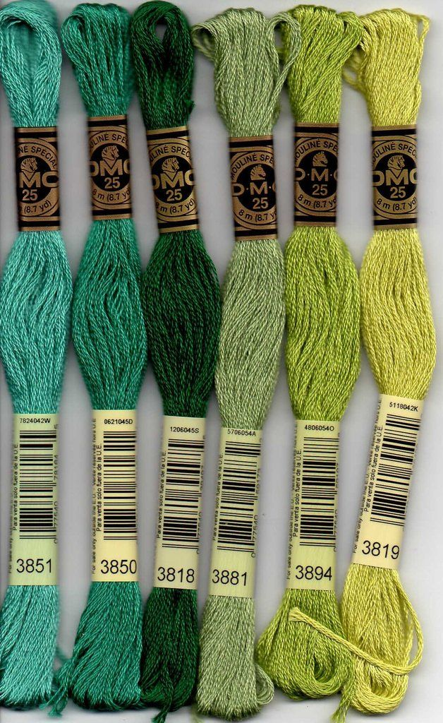 DMC Stranded Cotton Embroidery Floss Colour 3819 Light Moss Green