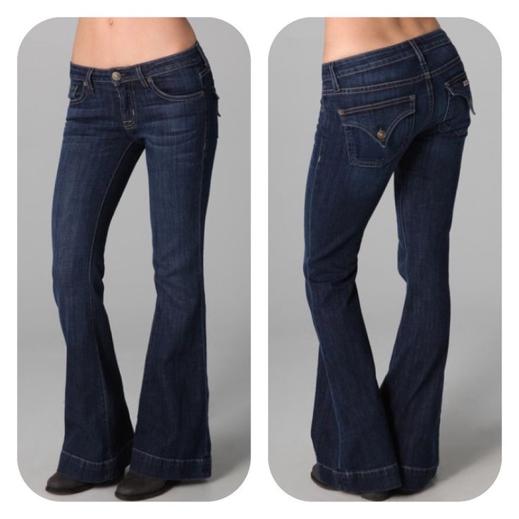 These petite-fit flare jeans feature 5-pocket styling and a single-button closure. Signature button-flap pockets at back and logo stud at coin pocket. Whiskering at front. Worn edges and mild distress