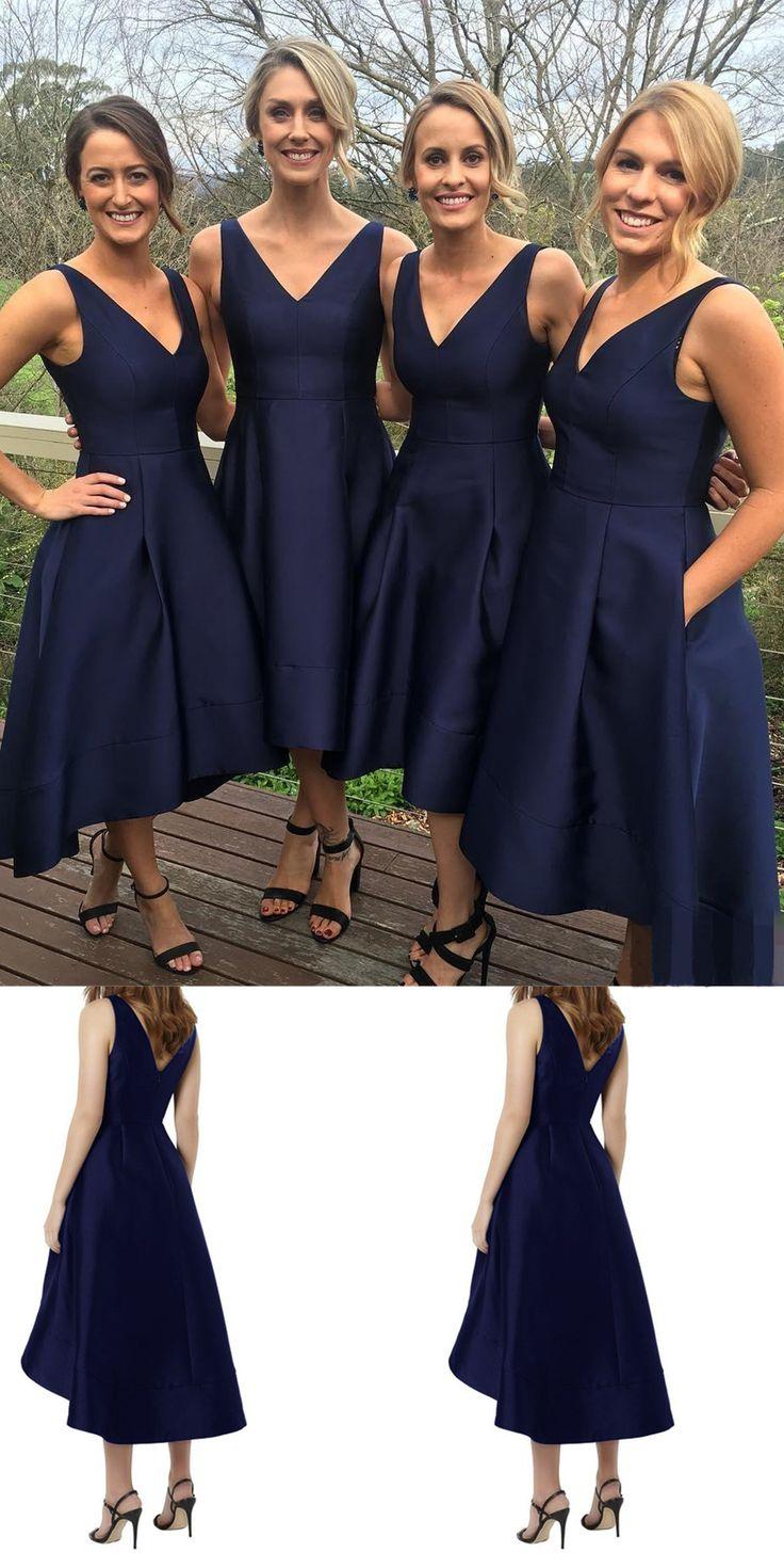 Classic Bridesmaid Dresses,Short Bridesmaid Dresses,A-line Bridesmaid Dress,Navy Blue Bridesmaid Dresses,HIgh Low Bridesmaid Dresses,Simple Bridesmaid Gowns,Bridesmaid Dresses