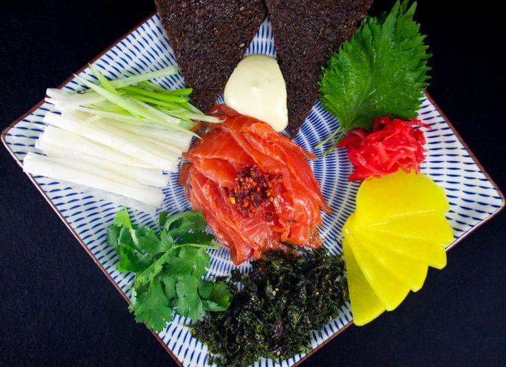 Assiette de gravlax à la japonaise/Idée pour l'apéro/Bouchées gourmandes