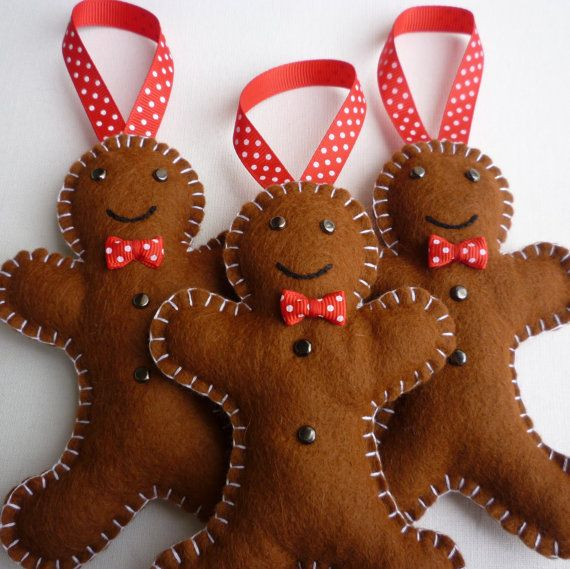 3 Felt Gingerbread Men Handmade Ornaments by rosecottagedesignss, £14.00