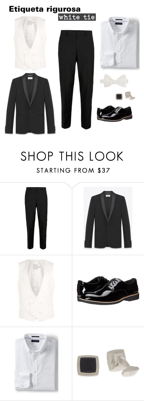 """Etiqueta rigurosa"" by arimacias on Polyvore featuring Topman, Yves Saint Laurent, Calvin Klein Jeans, Lands' End, Tateossian, Duchamp, men's fashion, menswear, menstyle y Firgun"