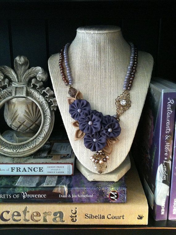 Lavender Fabric Flower Necklace with by JessicaHenryJewelry, $80.00