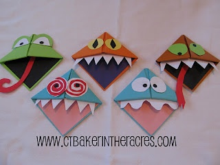 Origami Monster Bookmarks:going to send them home with a summer reading journal, a summer writing journal, which will take care of some of the extra supplies we have kicking around the room.