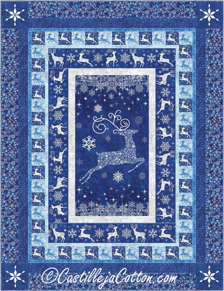 Reindeer Prance Quilt Kit, 4748-4, Reindeer Twin Quilt, Blue and White twin Quilt, Christmas Twin Quilt by castillejacotton on Etsy