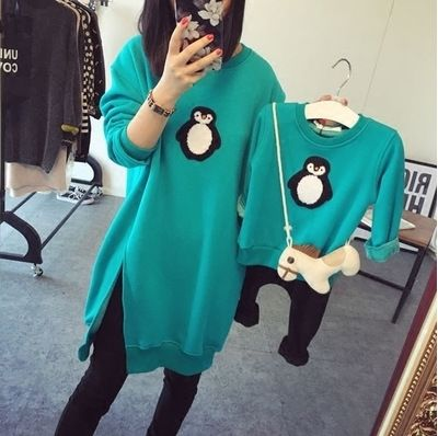 ==> [Free Shipping] Buy Best Fashion Family Matching Outfits T Shirts Mother Kids Girl Boys Shirts penguin clothes Mother Son Outfits Long-sleeve Family Look Online with LOWEST Price | 32757649026