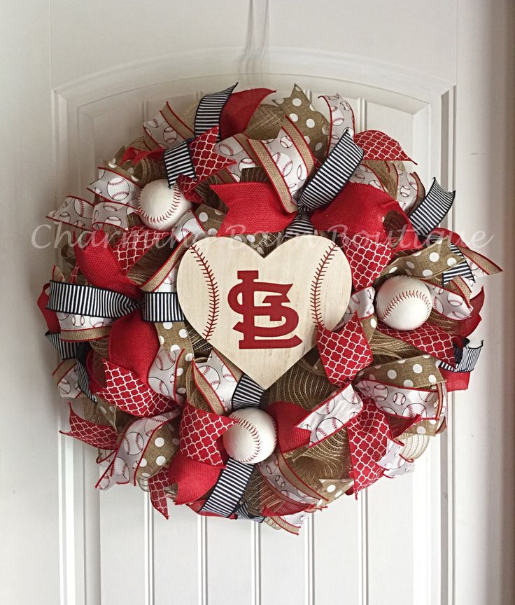 St.Louis Cardinals Wreath, St.Louis Cardinals Sign, St.Louis Cardinals Decor, St.Louis Decor, MLB Wreath, Baseball Wreath, Baseball Decor by CharmingBarnBoutique on Etsy