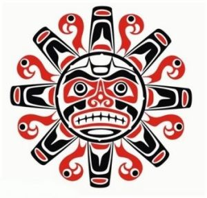 Tribal native haida tattoo sun with face.