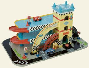 The Le Toy Van Mike's Auto Garage offers fantastic value for money as a 3 storey parking garage. The wooden toy garage includes 2 vehicles, 4 signs, 4 traffic cones, working wind up/down lift, helipad & spiral ramps and is mounted on a big race track baseboard with retro 50's styling.