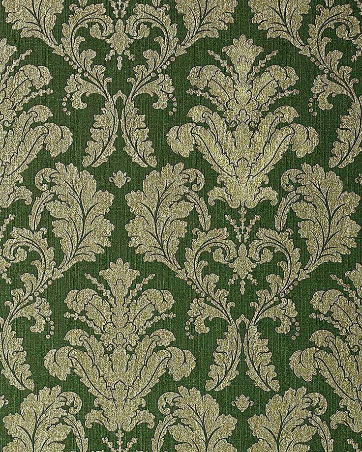 Carta da parati di lusso goffrata stile damasco EDEM 752-38 e barocco in verde oro grigio platino Rivestimento murale