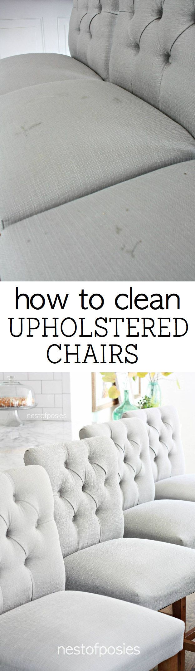 How to Clean Upholstered Chairs from food and grease stains.  Having 3 young kids, I have learned the simplest trick in keeping these clean!