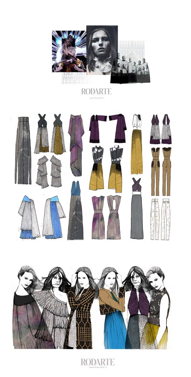 Rodarte Design Project - Inspiration; Simple design, three boards all work in sync beautifully. Colours connect all the way through from inspiration to line up.