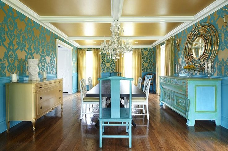 Suzie: Plum Interiors by Kartra Designs - Amazing turquoise blue dining room with gold ceiling, ...