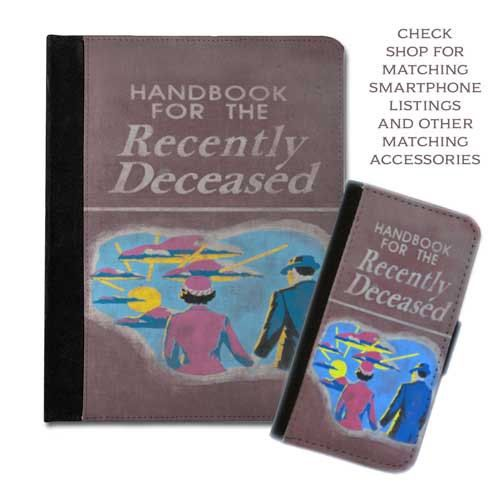 Handbook for the recently deceased beetlejuice book cover handbook protective tablet case (ipad 2 3 4, air, mini, Kindle Fire, paperwhite) on Etsy, $29.95