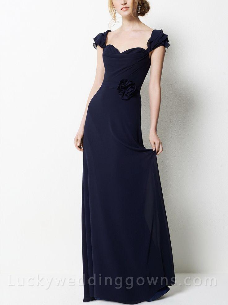 Elegant Indigo Chiffon Floor Length Long Bridesmaid Dress