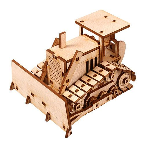 Wooden Model Heavy Equipment Kits Junior Series- Bulldozer