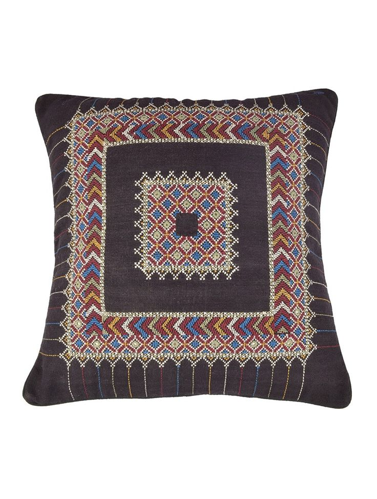Black Jat Embroidery Cotton Cushion Cover - 16in x 16in-- India