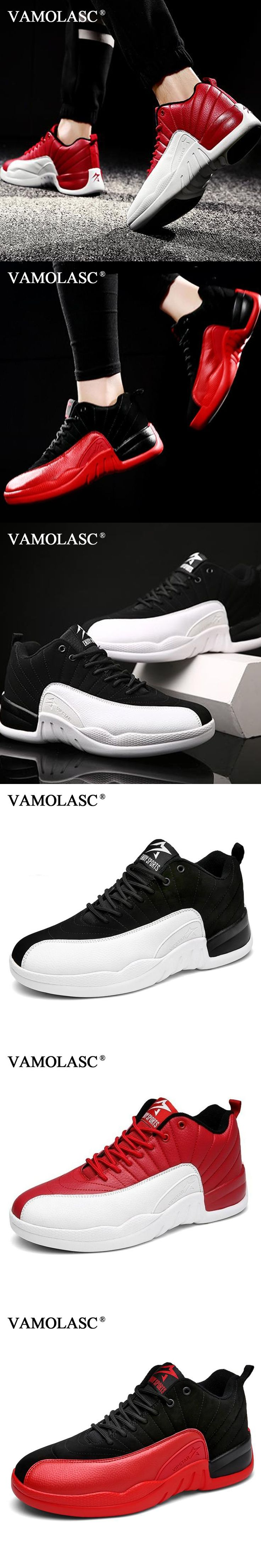 VAMOLASC New Men's Leather Basketball Shoes Thread Breathable Sneakers High Top Athletic Shoes Sports Shoes BS0341