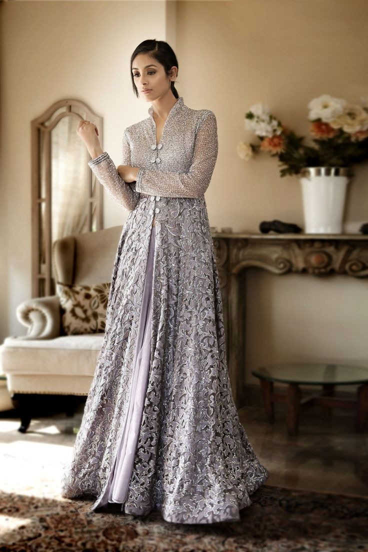 Net front open floor length jacket with thread and cutdana jaal all over with net lehenga