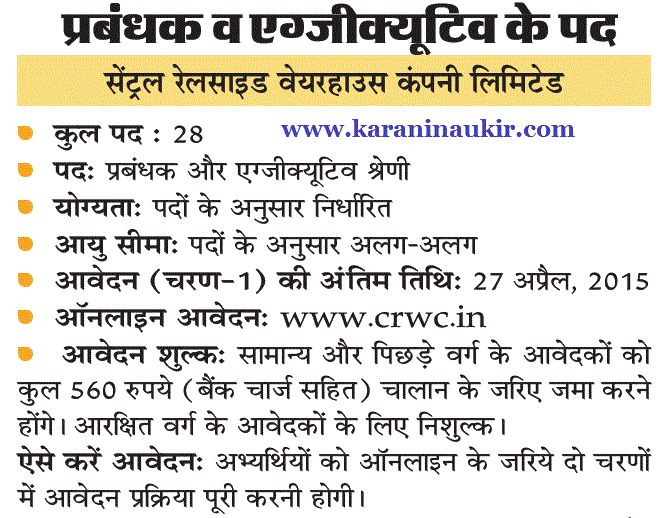 www.crwc.in- CRWC Recruitment For Manager 28 Post Apply Form - Karani Naukri