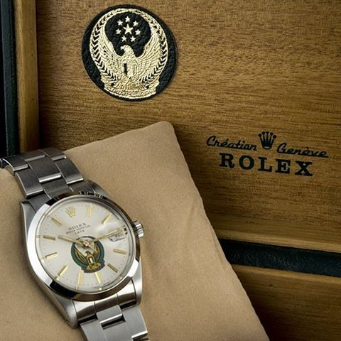 #Rolex Oyster Perpetual #Date ref. #15000 in stainless steel.  Featuring the #UAE #Military #Crest #Eagle Logo on the dial. Complete with the original swing tags, original bill of sale, punched papers, original outer and inner box, the latter of which also has the crest, as seen in the picture.  Truly a #rare find to have the complete set for such a #timepiece.