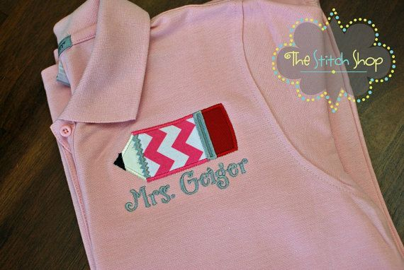 Ladies Polo Teacher Applique Shirt by TheStitchShopOnEtsy on Etsy, $25.00....and this one is mine. I LOVE it!!!