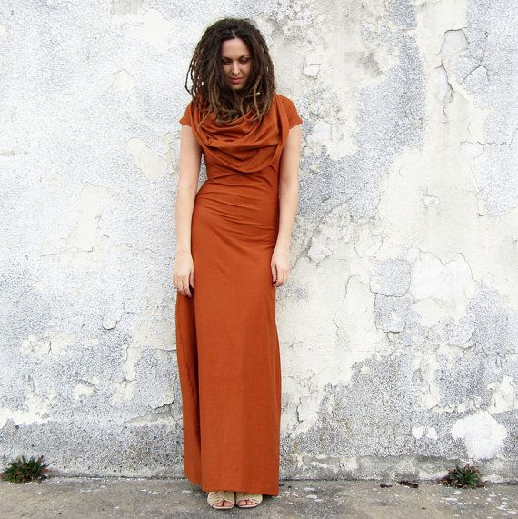 Stretchy Super Cowl Long Dress locally milled by gaiaconceptions, $155.00