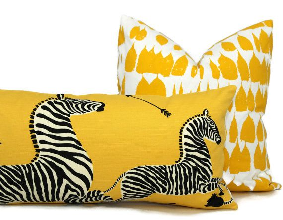 Yellow Scalamandre Zebra Decorative Pillow Cover  by PopOColor