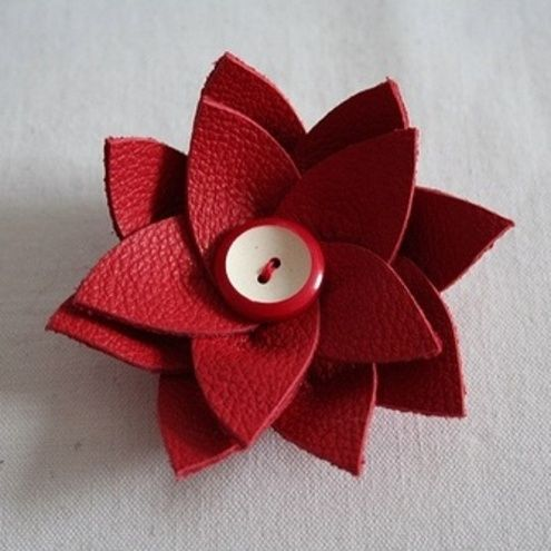 Recycled leather flower brooch