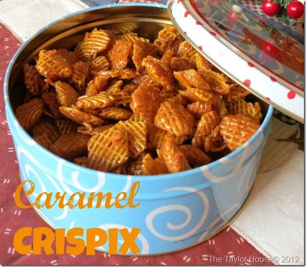 Caramel Crispix party mix~ add some chocolate  chips or m & ms in too! Great holiday gift idea.